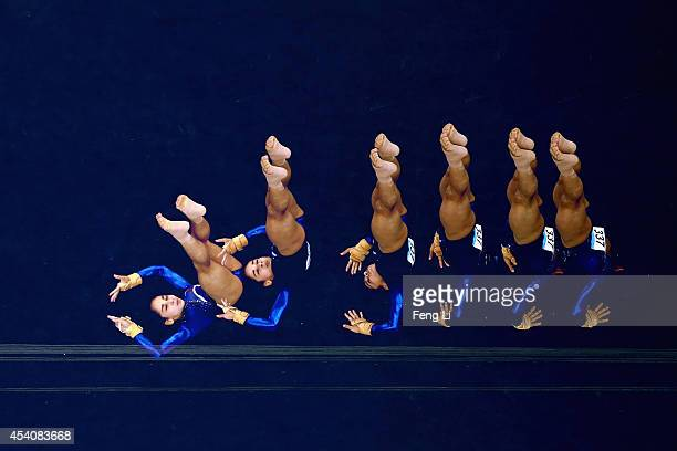 Seda Tutkhalyan of Russia competes in the Women's Floor Exercise Final on day eight of the Nanjing 2014 Summer Youth Olympic Games at Nanjing OSC...
