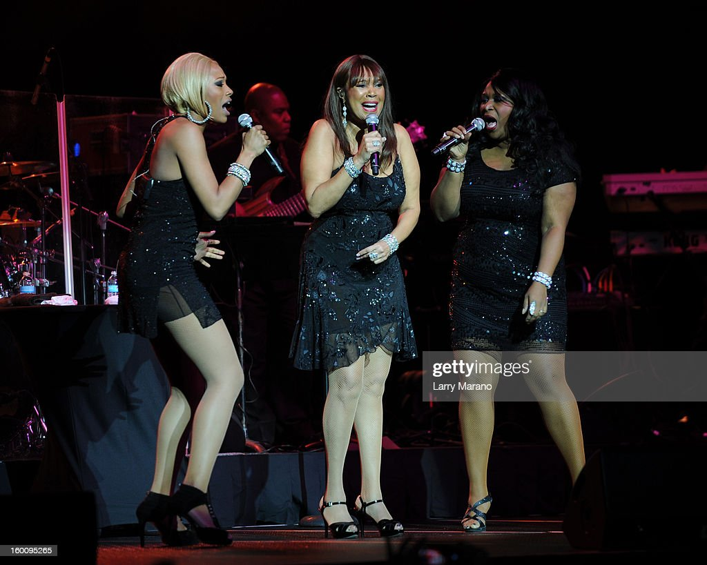 Sedako Pointer, Anita Pointer and Issa Pointer of The Pointer Sisters perform at Hard Rock Live! in the Seminole Hard Rock Hotel & Casino on January 25, 2013 in Hollywood, Florida.