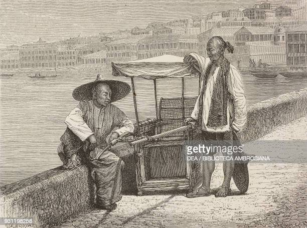 Sedan in Hong Kong drawing by Etienne Ronjat from Travel in China 18701872 by John Thomson from Il Giro del mondo Journal of geography travel and...