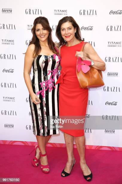 Sedef Ayguen and Alexandra von Rehlingen during the Grazia Pink Hour at Titanic Hotel on July 4 2018 in Berlin Germany