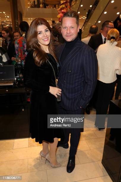 Sedef Ayguen and Bastian Ammelounx attend the 'Easy to pack brushes' launch by Laila Hamidi at Breuninger on March 16 2019 in Duesseldorf Germany