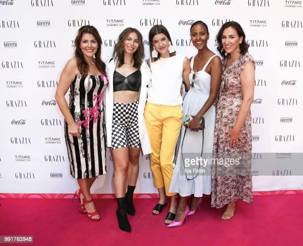 Sedef Ayguen, Masha Sedgwick, Marie Nasemann, Sara Nuru and Claudia ten Hoevel during the Grazia Pink Hour at Titanic Hotel on July 4, 2018 in...