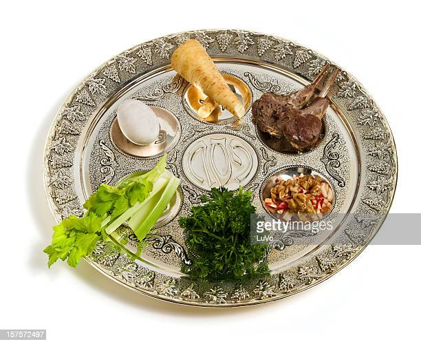 seder plate, angle view - happy passover stock pictures, royalty-free photos & images