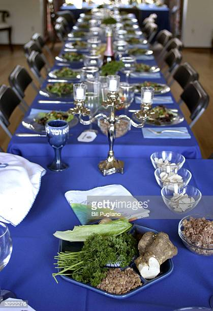 A seder plate lies on a table in Sharona Shapiro's home prior to an interfaith Passover celebration April 5 2004 in West Bloomfield Michigan Shapiro...