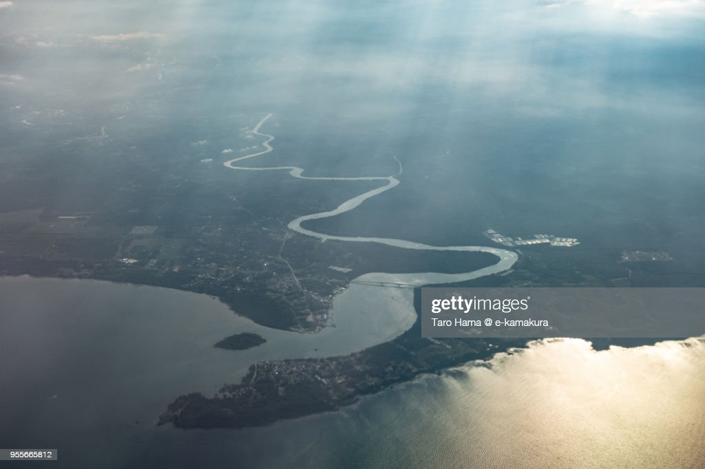 Sedili Besar in Johor in Malaysia sunset time aerial view from airplane : ストックフォト