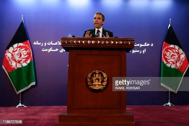 Sediq Sediqqi spokesperson for the President of Afghanistan gestures as he speaks during a press conference in Kabul on September 8 2019 US President...