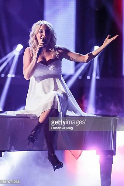 Sedish singer Julia Lindholm during the tv show 'Willkommen bei Carmen Nebel' at Velodrom on October 1 2016 in Berlin Germany