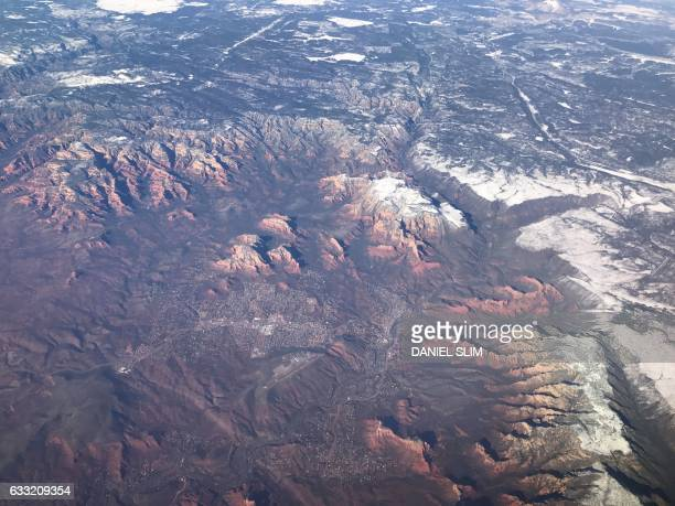 Sedona Arizona is seen from a plane Januray 30 2017 Sedona is an Arizona desert town near Flagstaff thats surrounded by redrock buttes steep canyon...