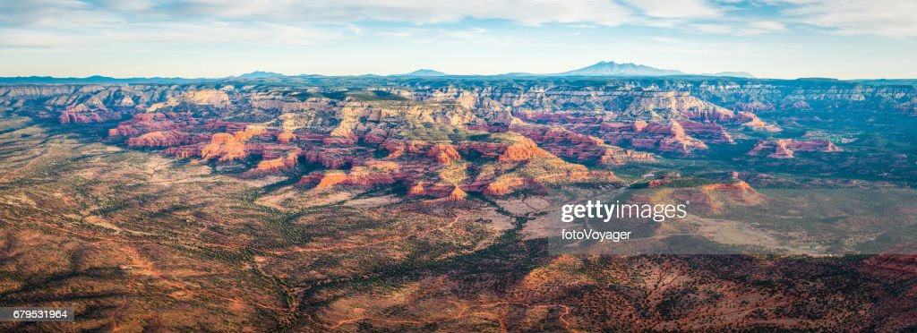 Sedona sunrise aerial panorama over red rock desert forest Arizona : Stock Photo