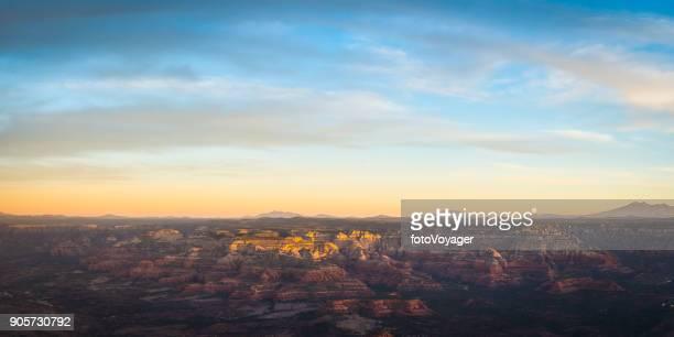 Sedona sunrise aerial panorama over red rock desert of Arizona