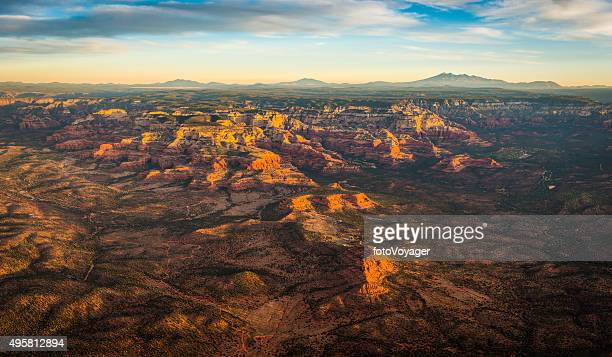 Sedona sunrise aerial view over Red Rock Country Arizona USA