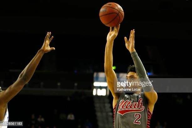 Sedrick Barefield of the Utah Utes goes up for a threepointer during the first half of a game against the UCLA Bruins at Pauley Pavilion on February...