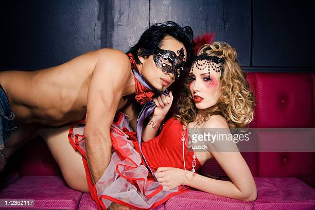 seduction - crazy holiday models stock photos and pictures