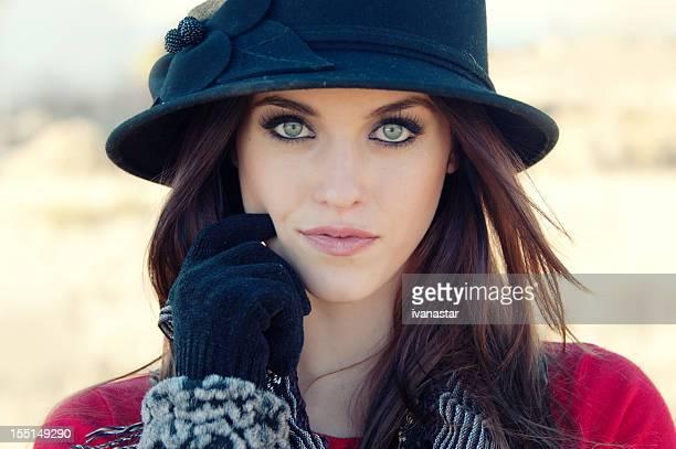 Seductive Beautiful Fashion Model with Cloche Hat
