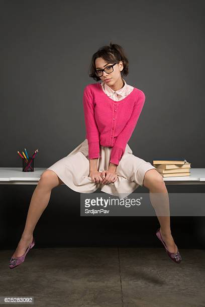 seductive nerdy - lust girl stock photos and pictures