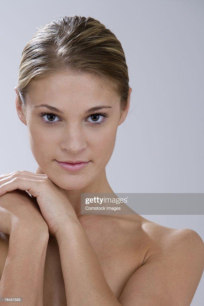 Seductive topless woman : Stockfoto
