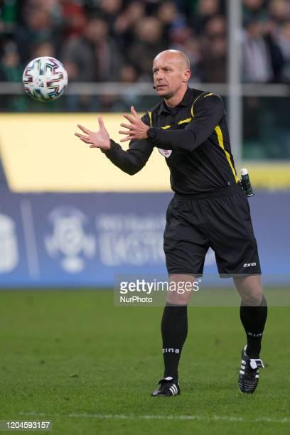 sedzia Szymon Marciniak during the match between Legia Warsaw v Cracovia for the PKO Ekstraklasa in Warsaw Poland on February 29 2020