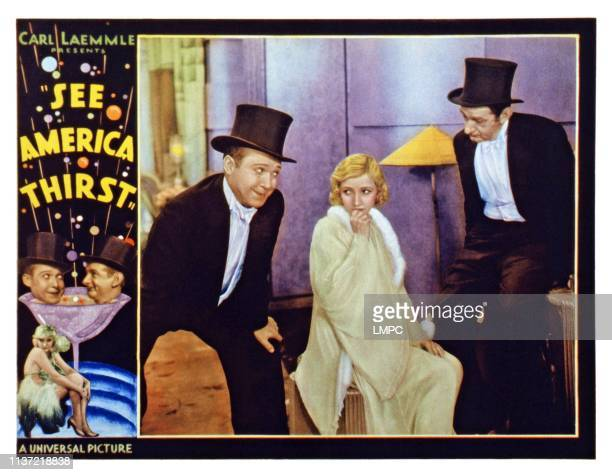 See America Thirst US lobbycard left and center from left Harry Langdon Bessie Love Slim Summerville 1930