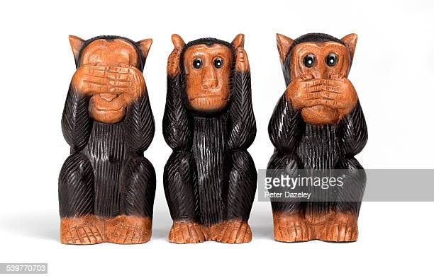 see no evil, hear no evil and speak no evil monkey - see no evil hear no evil speak no evil stock pictures, royalty-free photos & images