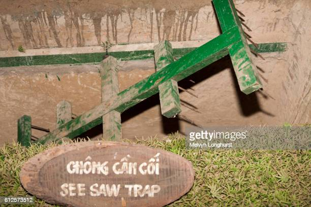 a see saw booby trap at ben dinh, cu chi, near ho chi minh city, (saigon), vietnam - booby trap stock pictures, royalty-free photos & images