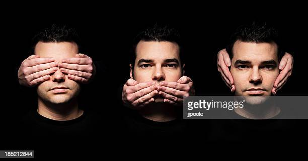 see, speak, hear no evil - see no evil hear no evil speak no evil stock pictures, royalty-free photos & images