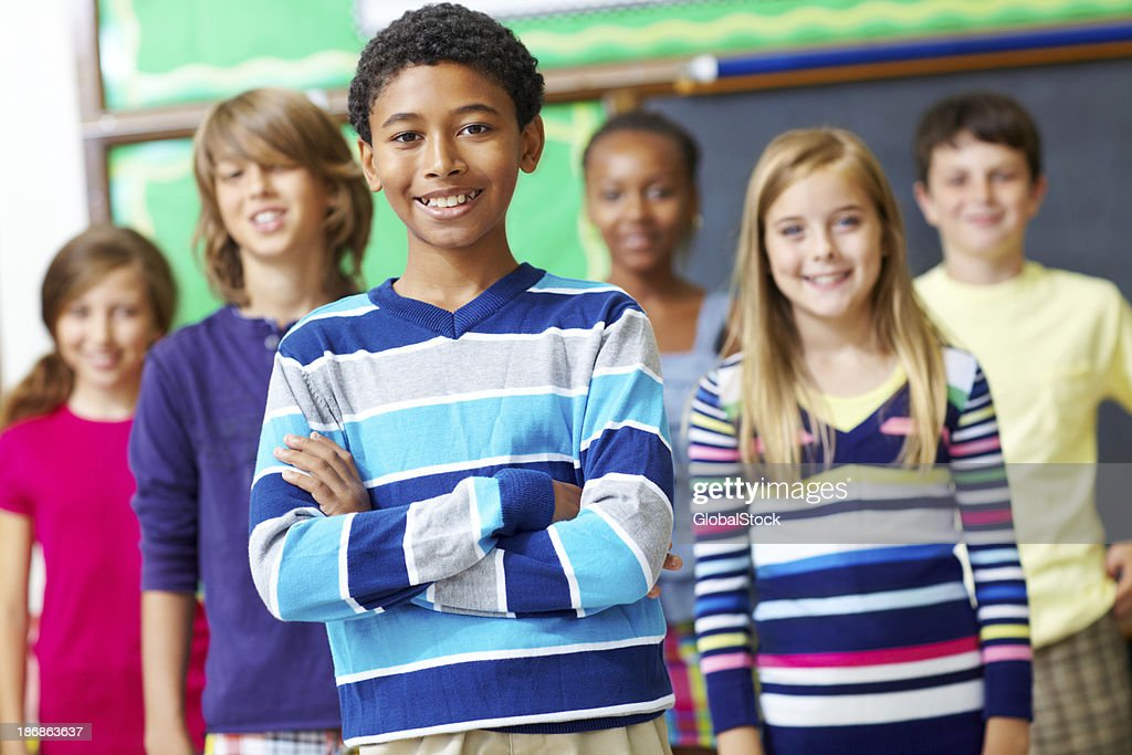 See this school's success in the faces of it's pupils : Stock Photo