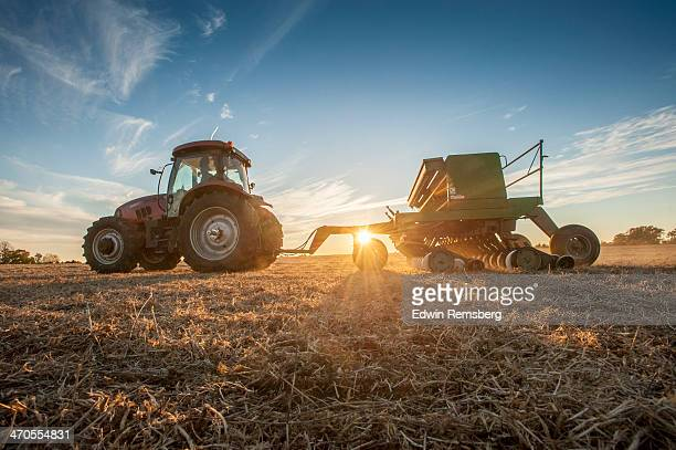 seeding at sunset - tractor stock pictures, royalty-free photos & images