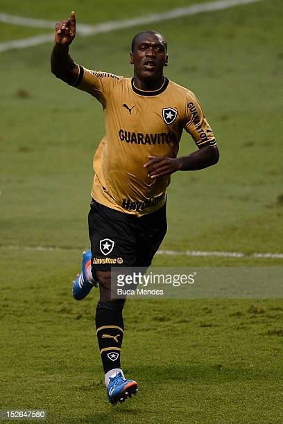 Seedorf of Botafogo celebrates a scored goal during a match between Botafogo and Corinthians as part of the Brazilian Serie A Championship, at...