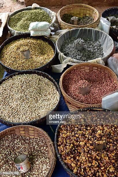 Seeds and bulk peas Khaung Daing market Inle Lake Myanmar