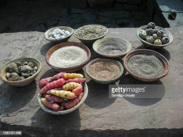 seeds and tubers in bowls at market - comida peruana fotografías e imágenes de stock