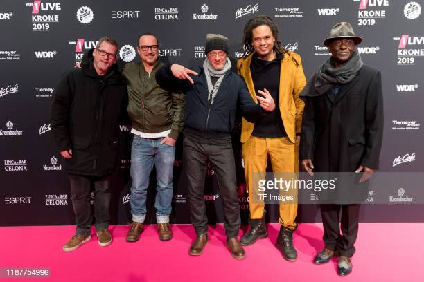 Seeed arrives for the 1Live Krone radio award at Jahrhunderthalle on December 5, 2019 in Bochum, Germany.
