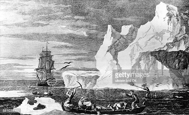 2710172814021779 Seefahrer Entdecker GrossbritannienZweite Südseereise 177275Cooks Flaggschiff im Südpazifik bei einem Eisberg 09011773zeitg...