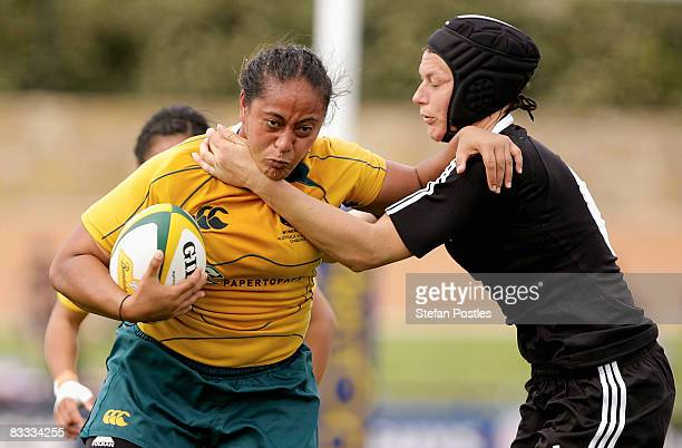 Se'ei Sa'u of the Wallaroos is tackled during the second test match between the Australian Wallaroos and the New Zealand Black Ferns held at Viking...