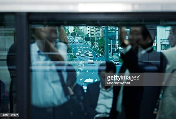 seeing city scenery through the train window