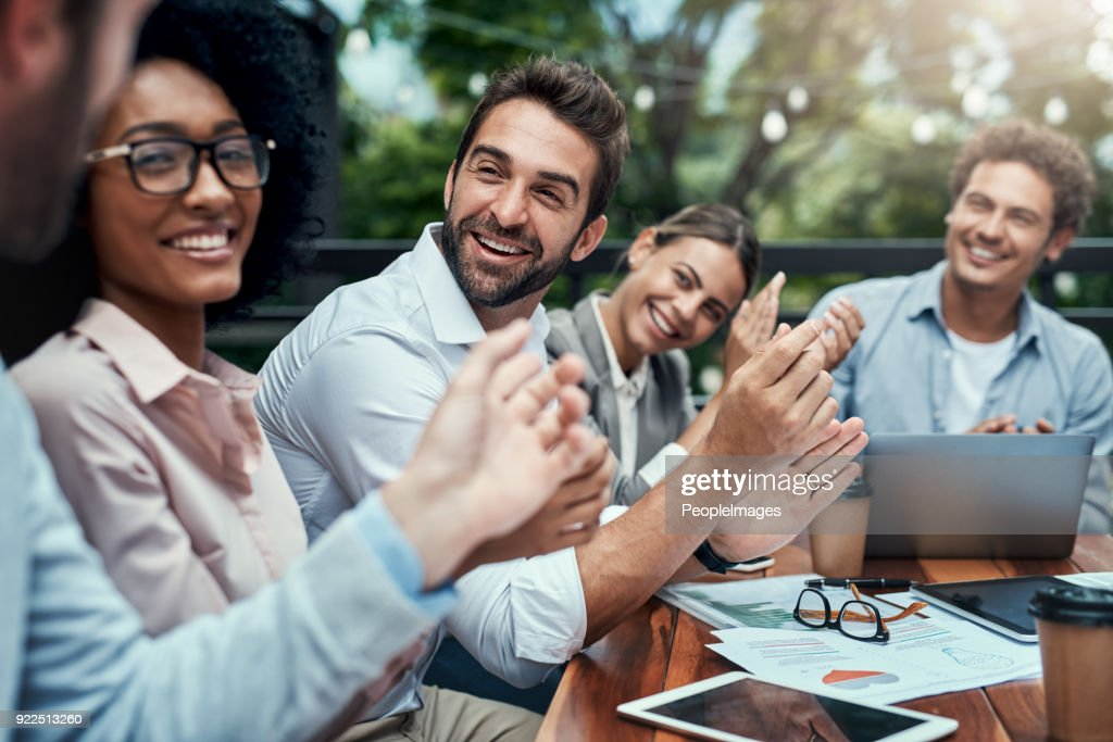 Seeing their success all come together : Stock Photo