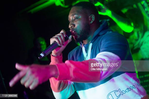SeeJay100 performs during Grime Aid 2019 for Road to Freedom in memory of Cadet at The Ace Hotel on February 20 2019 in London England