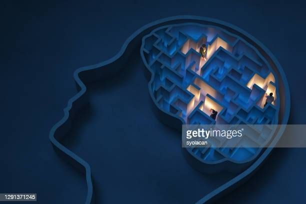 seeking solutions in the human brain - syolacan stock pictures, royalty-free photos & images