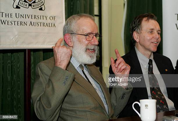 Seeking Wisdom Nobel laureates Pathologist Dr Robin Warren and Professor Barry Marshall conduct a press conference at the University of Western...