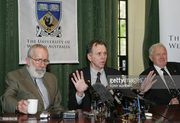 Seeking Wisdom Nobel laureates Pathologist Dr Robin Warren and Professor Barry Marshall and ViceChancellor Professor Alan Robson conduct a press...