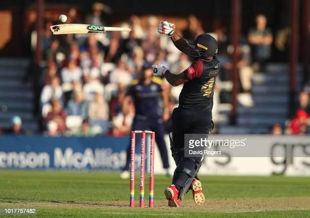 Seekkuge Prasanna of Northamptonshire loses his bat during the Vitality Blast match between Northamptonshire Steelbacks and Yorkshire Vikings at The...