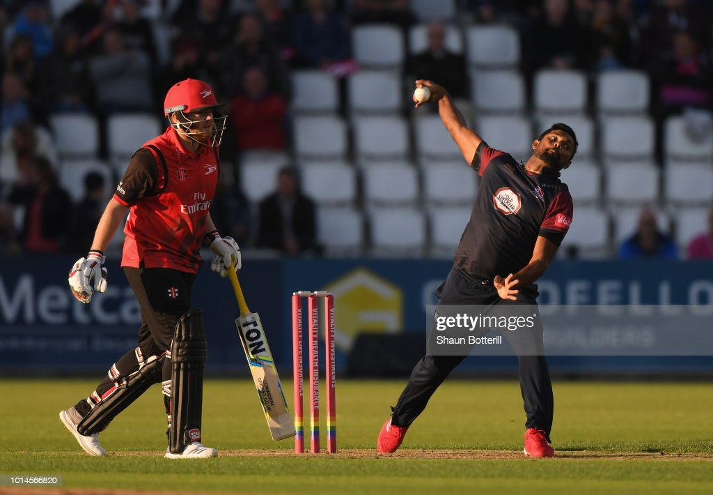 Seekkuge Prasanna of Northamptonshire Steelbacks bowls during the Vitality Blast match between Northamptonshire Steelbacks and Durham Jets at The County Ground on August 10, 2018 in Northampton, England.