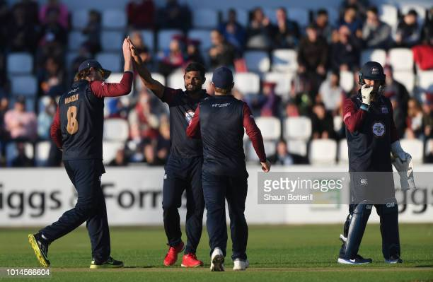 Seekkuge Prasanna of Northamptonshire Steelbacks celebrtes after taking a wicket during the Vitality Blast match between Northamptonshire Steelbacks...