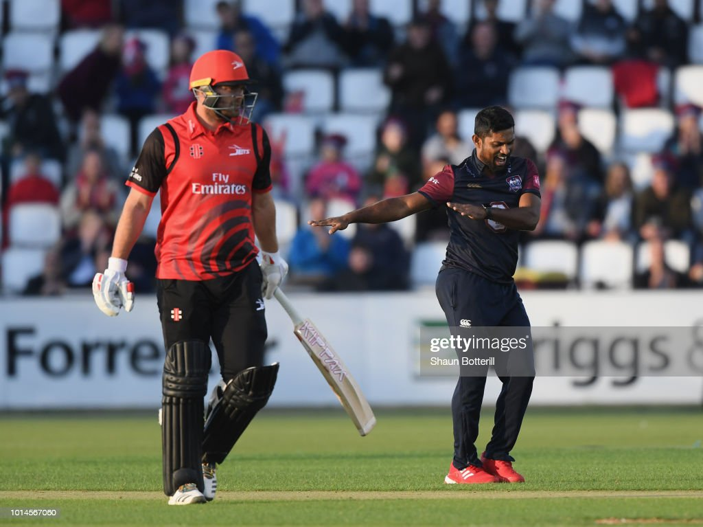 Seekkuge Prasanna of Northamptonshire Steelbacks celebrtes after taking a wicket during the Vitality Blast match between Northamptonshire Steelbacks and Durham Jets at The County Ground on August 10, 2018 in Northampton, England.