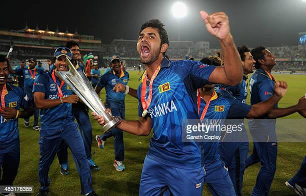 Seekuge Prasanna of Sri Lanka celebrates winning the ICC World Twenty20 Bangladesh 2014 Final between India and Sri Lanka at ShereBangla Mirpur...