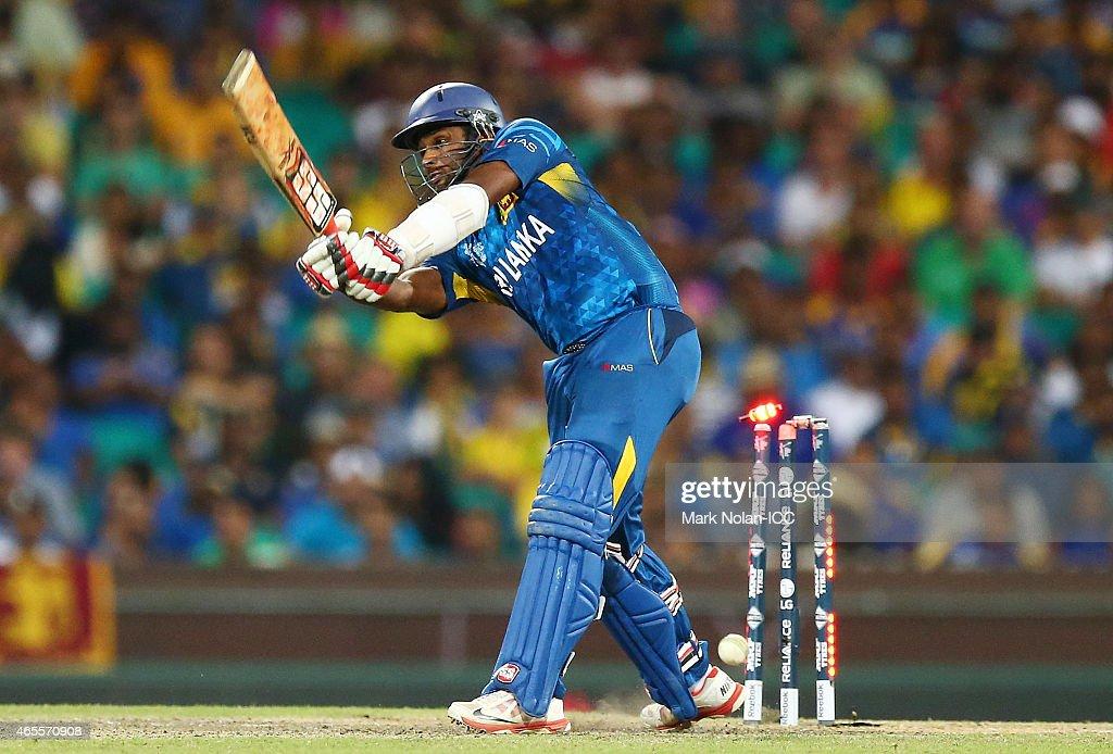 Seekuge Prasanna of Sri Lanka is bowled by Mitchell Starc of Australia during the 2015 ICC Cricket World Cup match between Australia and Sri Lanka at Sydney Cricket Ground on March 8, 2015 in Sydney, Australia.