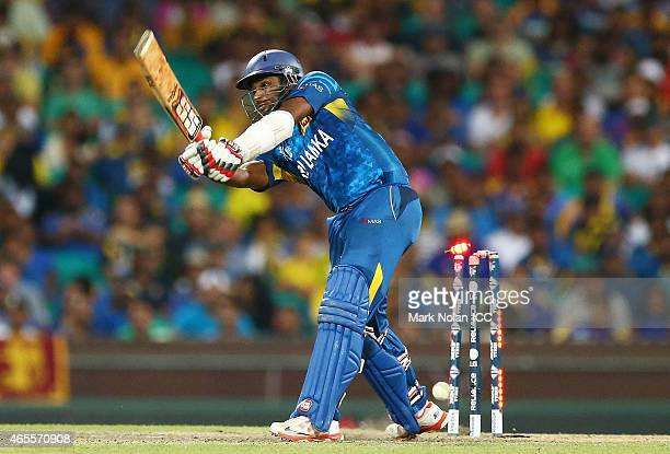 Seekuge Prasanna of Sri Lanka is bowled by Mitchell Starc of Australia during the 2015 ICC Cricket World Cup match between Australia and Sri Lanka at...