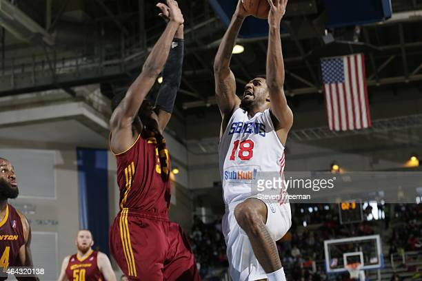 J Seeley of the Delaware 87ers drives against Brandon Paul of the Canton Charge at the University of Delaware Bob Carpenter Center on February 24...