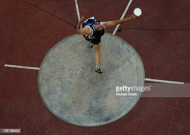 Seema Antil of India competes in the women's discus final at Jawaharlal Nehru Stadium during day eight of the Delhi 2010 Commonwealth Games on...