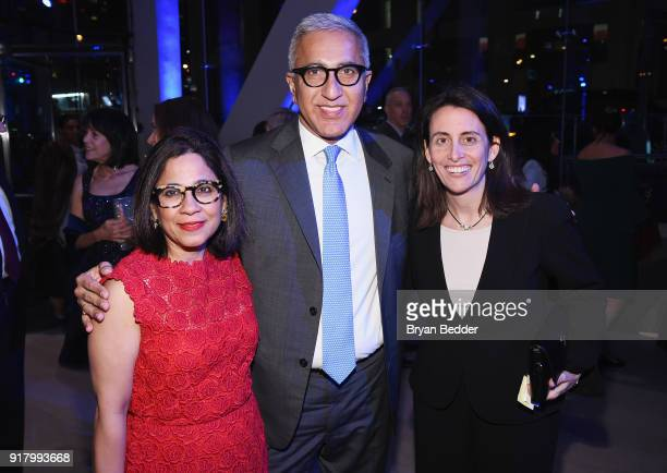 Seema Khanna Somesh Khanna and guest attend the Winter Gala at Lincoln Center at Alice Tully Hall on February 13 2018 in New York City