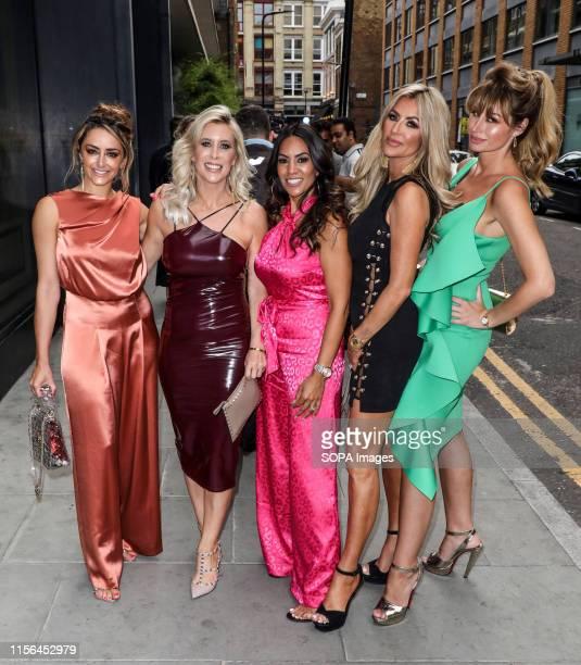 Seema Malthora Dawn Ward Rachel Lugo Ester Dee and Hanna Miraftab attending the ITV Summer Party 2019 at Nobu Shoreditch in London